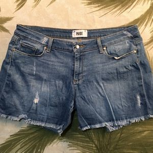 Paige Distressed Jean Shorts Size 30